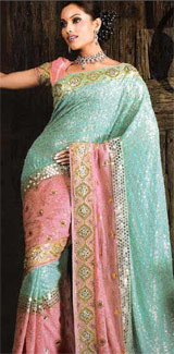 Peach-Saree