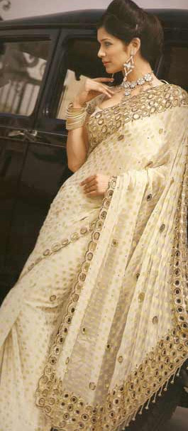 Cream-Saree