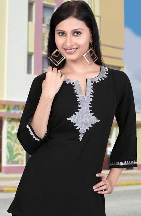 black faux georgette tunic