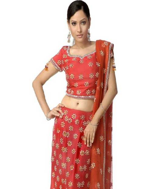 lehenga choli designed with sequins, resham