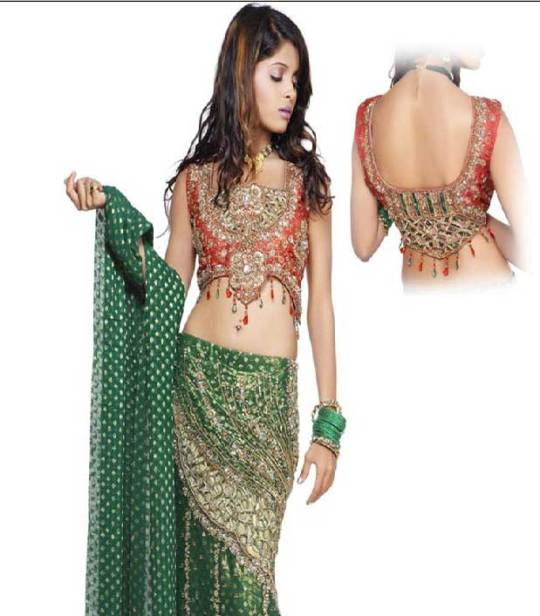 Deep green brocade lehenga choli