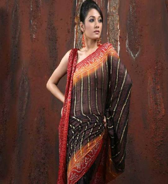 Black Pure Georgette Bandhej Saree
