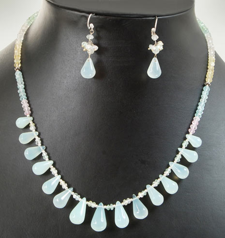 White Blue Beads Strung Necklace