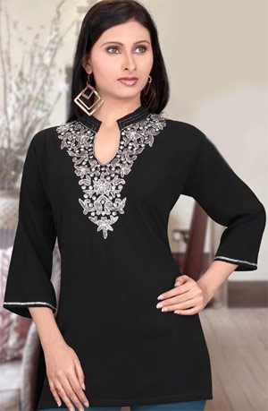 Black Faux Georgette Tunic