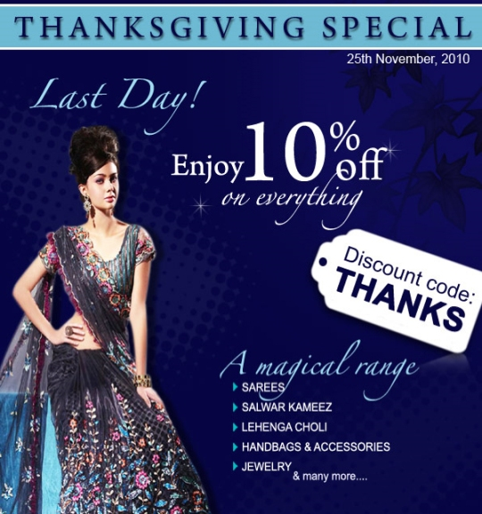 Hurry! Last day day to grab thanksgiving designs at great discounts from Utsav